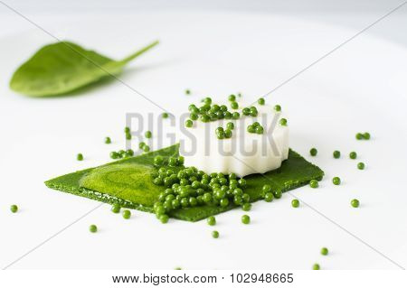 Mozzarella Pudding, Spinach Caviar, Spinach Sauce And Green Paper. Vegetarian Cold Appetizer