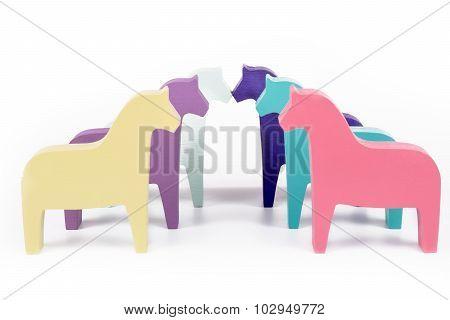 Six colored horses