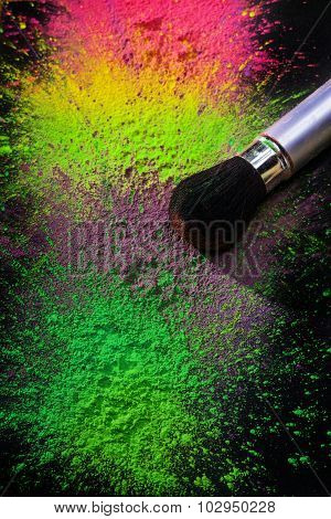 Makeup brush with holi paint