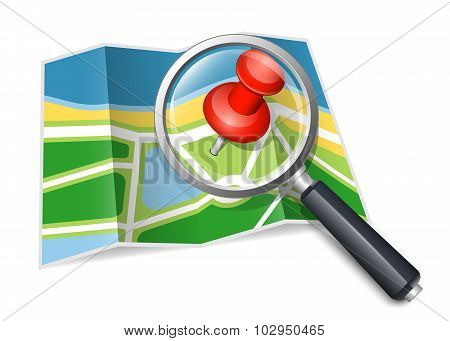 Paper Map With Magnifying Glass