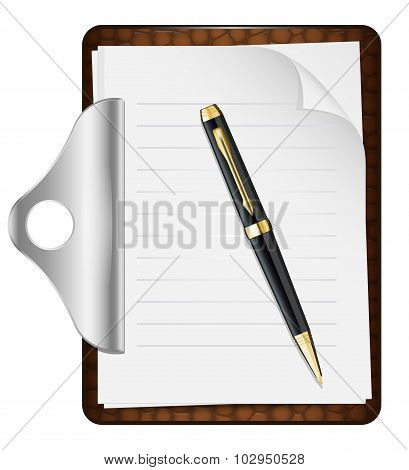 Clipboard With An Empty Sheet Of Paper And Pen. Vector Illustration