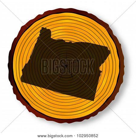 Oregon Map On Timber