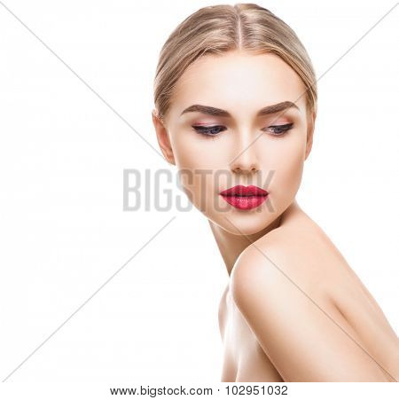 Beauty portrait of blonde young woman with perfect make-up isolated on white. Beautiful model girl with fresh clear skin. Female face close-up. Pure Beauty Model. Youth and Skin Care Concept