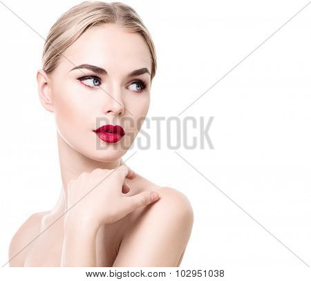 Beauty young woman portrait isolated on white. Beautiful model girl with beauty makeup, red lips, perfect fresh skin. Attractive Blonde lady with blue eyes. Youth and Skin Care Concept