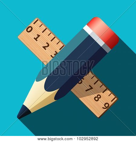 Pencil And Ruler Icon With Long Shadow