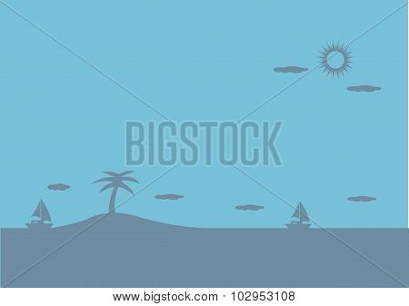 Peaceful Island In Ocean Blue Vector Background Illustration