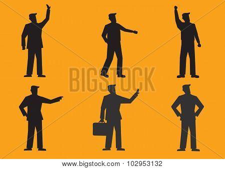 Cartoon Businessman Silhouette Vector Illustration