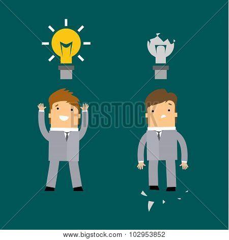 businessman with glow light bulb