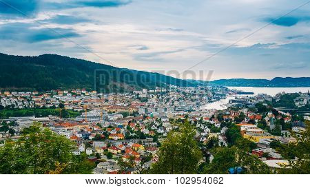 Aerial view Cityscape of Bergen, Norway