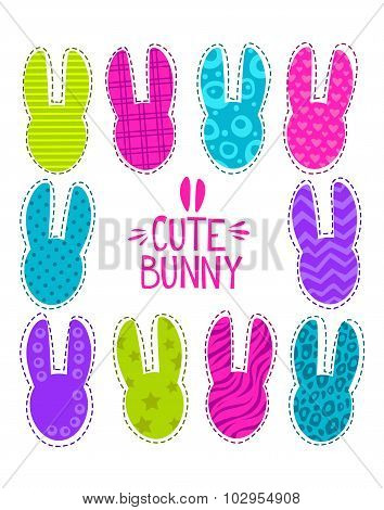 Cute funny vector illustration with bunny heads