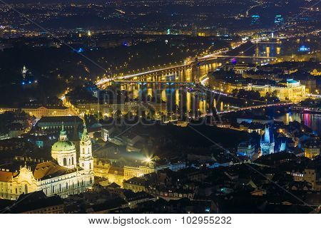 Night panorama of Prague, Czech Republic. Castle, Charles Bridge