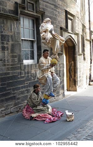 Levitating Street Performers In Edinburgh