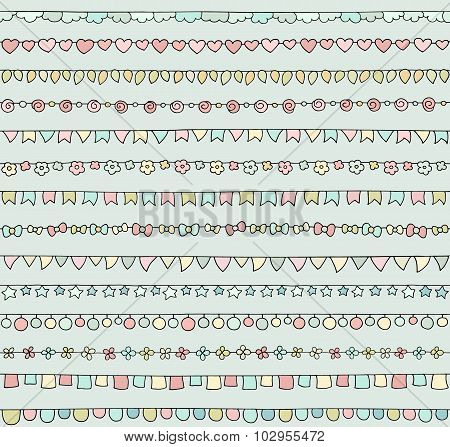 Set Of Cute Doodle Bunting Party Flags