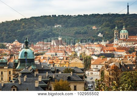 Aerial view of cityscape of Prague, Czech Republic