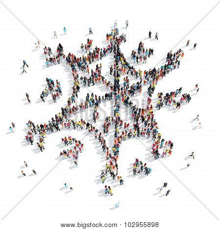 group people  shape  snowflake