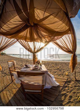 Dinner set in Kuta beach Bali INdonesia