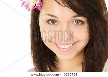 Spring Girl With Flower in the Hair