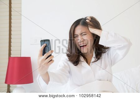 Angry Asian Woman Shouting At Phone