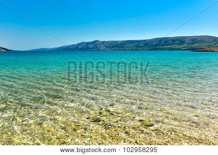 Beach In The Coast Of Adriatic Sea  Island Pag Or Hvar