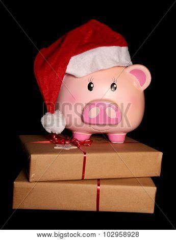 Santa Piggy Bank And Christmas Presents
