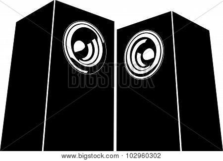Sound-system Speaker Illustration Icon In Black And White