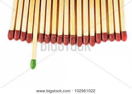 Green matchstick leadership concept isolated on white