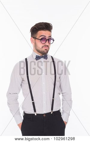 Serious hipster man in studio