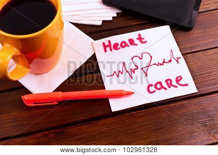 napkin sketch cardiogram heart care  on cafe napkin