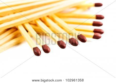 Pile of matches isolated on white