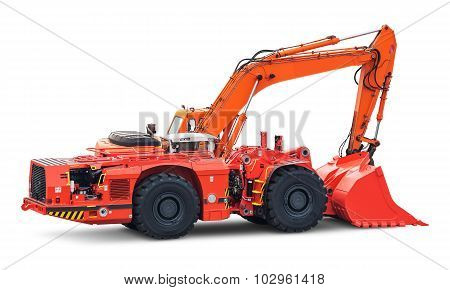 Big heavy excavator isolated on white background
