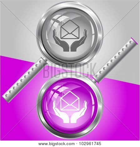 protection of mail. Vector magnifying glass.