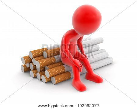Man and Cigarette  (clipping path included)