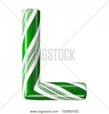Mint hard candy cane 3d alphabet collection striped in Christmas colours. Letter L.