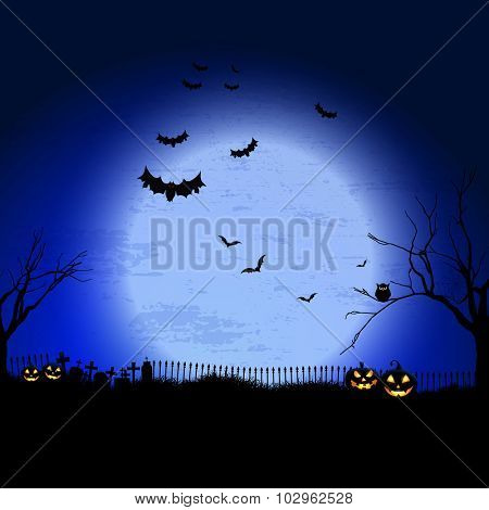 Spooky Halloween landscape with graveyard and bats