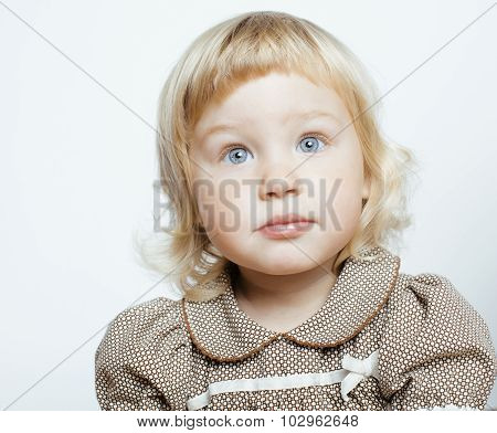 little cute blond girl close up isolated