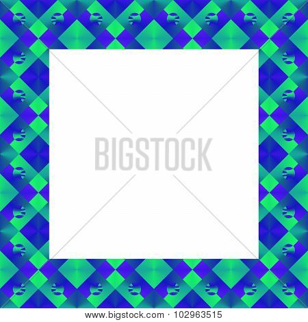 Blue green abstract geometric square border