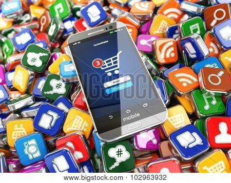 Smartphone apps. Mobile phone on the application software icons background. 3d