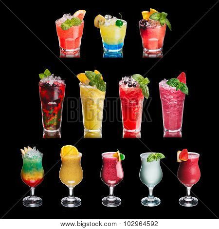 Fruit Cocktails Isolated On Black Set