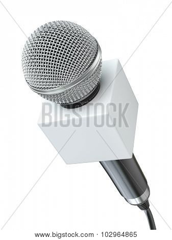 Microphone isolated on white. Caraoke or news concept. 3d