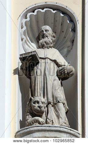 LEPOGLAVA, CROATIA - SEPTEMBER 21: Saint Jerome on the portal of Holy Cross, parish Church of the Immaculate Conception of the Virgin Mary in Lepoglava, Croatia on September 21, 2014