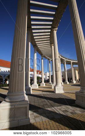 SV. KRIZ ZACRETJE, CROATIA - SEPTEMBER 21: Modern colonnade of the shopping center in Sv. Kriz Zacretje, Croatia on September 21, 2014