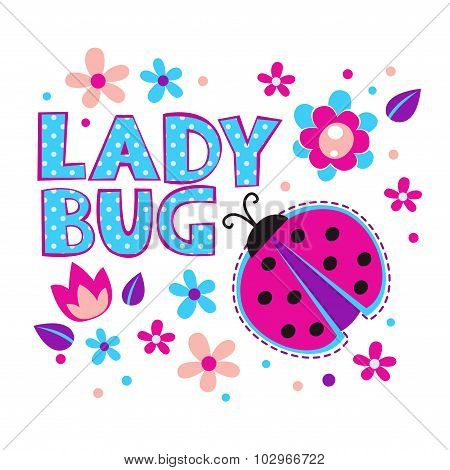 Cute girlish illustration with ladybug