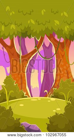 Cartoon vector forest illustration