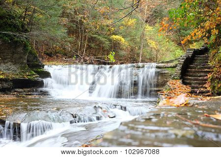 Autumn scene landscape of waterfalls at Robert H. Treman State Park