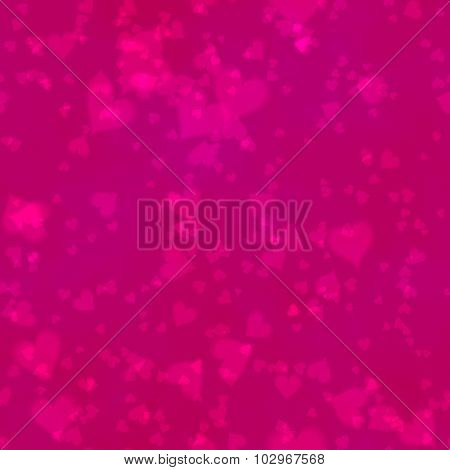 Pink Hearts Irregularly Placed  On Magenta Backgroud - Seamless