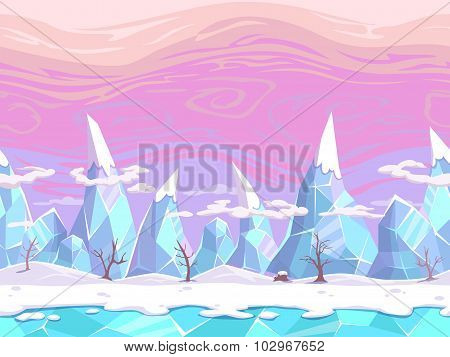 Seamless vector cartoon fantasy landscape