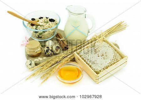 Healthy Breakfast - Muesli, Milk, Honey And Eggs - Health Concept