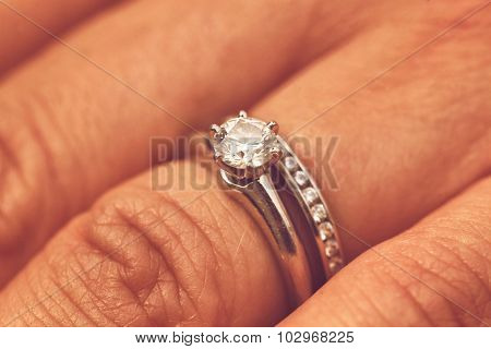 Hands of the bride with beautiful ring