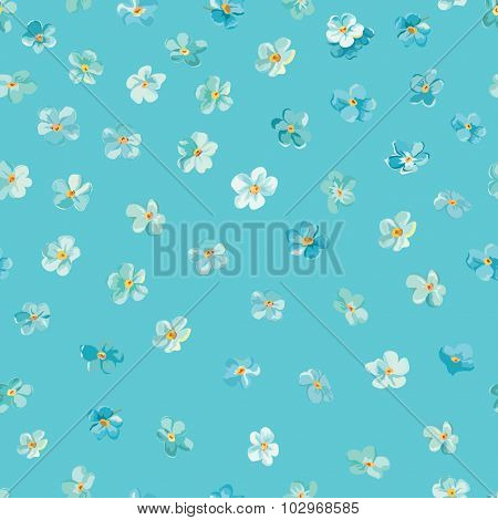 Spring Blossom Flowers Background - Seamless Floral Shabby Chic Pattern
