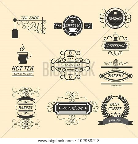 Coffee Retro Vintage Labels Logo Design Vector Typography Old Style Elements, Business Signs